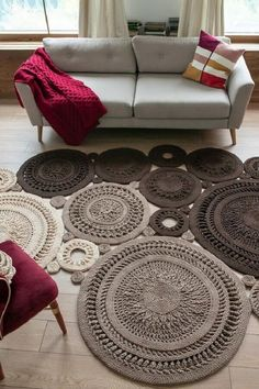 Textual Description on English plus video (on Russian). You can crochet a rug of any size and configuration! Textual Description on English plus video Small Round Rugs, Crochet Rug Patterns, Crochet Rugs, Free Crochet, How To Make Drawing, Crochet Home, Etsy, Creations, Knitting