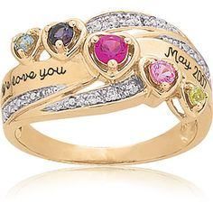Mom's would be in the middle..Not one of my favorites but its an idea @Emily Armbrust  Keepsake Personalized Heart's Journey Mother's Birthstone Ring