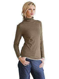 Basic-Shirt. Mit tonigen Saumabschlüssen. Länge ca. 68 cm. Figurbetonte Form. Leicht fließendes Material aus 90% Baumwolle (Pima Cotton), 10% Elasthan. Waschbar....