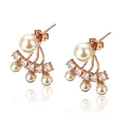 6538c43e720 Environmental Alloy Simulated Pearl Zircon Earrings Earrings Online