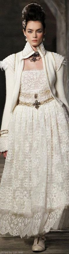 Chanel ~ Fall Embroidered Lace Maxi Dress w Knit High Collar Long Sleeve Jacket, Beige 2013