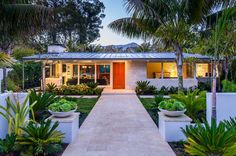 Mid century modern house plants exterior midcentury with large overhang standing seam metal roof low pitch roof