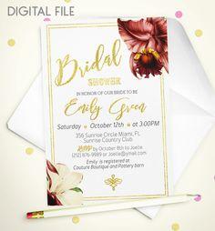 Bridal Shower Invitation Marsala Printable invite by AlniPrints  #Bachelorette #Bridal #Shower #Invitation #brunch #idea #invite #Lingerie #party #dinner