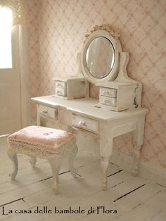 Petite Princesse dressing table & stool  1/12 by FloraDollhouse, $50.00