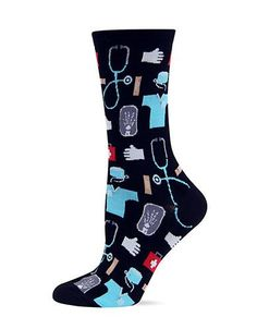 HotSox brings you these ultra-soft crew socks, boasting a unique, medical-inspired flair. Varied prints embellish these socks allover, including prints of X-rays, stethoscopes, and first-aid kits.