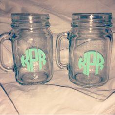Monogrammed mason jars? Yes please!
