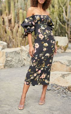 Floral -Printed Linen Dress by MONIQUE LHUILLIER for Preorder on Moda Operandi
