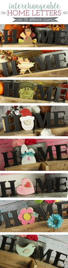 Interchangeable Home Letters | Over 55 different inserts to pick from! Great for super Saturdday, girls night out, or craft groups! So fun! Have a new insert for each month!