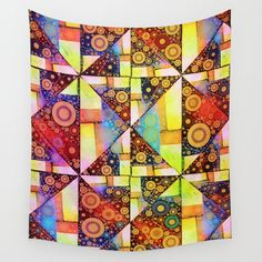 Colorful Tapestry, Colorful Wall Art, Colorful Paintings, Cubist Art, Abstract Art, Mandala Artwork, Society 6 Tapestry, Inspirational Wall Art, Vinyl Wall Art