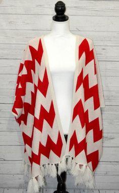 Womens Chevron Shawl Poncho Sweater Red Ivory Fringe Trim Coco Love Sz M or L
