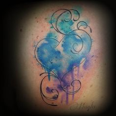 Custom watercolor style heart by Haylo - Custom, freehand watercolor style heart on shoulder.
