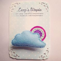 Super cute little rainbow cloud felt brooch with safety fastener and totally handmade by me :) in my little sewing room in Shropshire. Measures