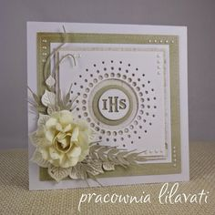 pracownia lilavati First Communion Cards, First Holy Communion, Hobbies And Crafts, Diy And Crafts, Confirmation Cards, Big Shot, Christening, Holi, Cardmaking