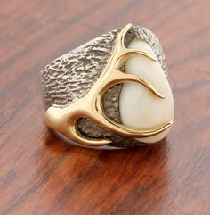 Elk Ivory/Tooth Ring Mounting in Sterling by ParkCityJewelry
