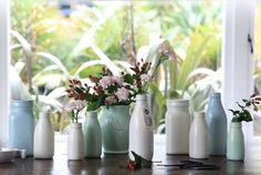 Beautiful cream satin glazed ceramic milk bottle vase handmade by us on Waiheke Island. This is the small size and is high Waiheke Island, Duck Egg Blue, Glazed Ceramic, Handmade Wedding, High Tea, Home Accessories, Bottle Vase, Bottles, Milk