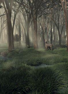 surrealism - deer, cinema 4D Cinema 4d, Surrealism, Deer, Graphics, Plants, Charts, Graphic Design, Flora, Plant