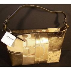 COACH HANDBAGS, COACH GOLD HOLIDAY PATCHWORK TOP HANDLE POUCH # 40971 (Gold Multicolor) (Apparel)