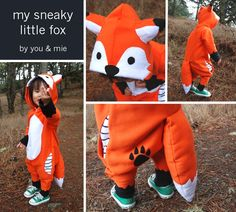 Cutest baby fox costume sewn by You and Mie. Pattern adapted from her Totoro costume, which has instructions linked from this page.