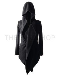 (MUC01-BLACK) Mens Slim Double D ring Closure Long Sleeve Hooded Asymmetric Cardigan