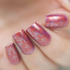 Nail art stamping using our Enchanted plate over Love At First Bite nail polish