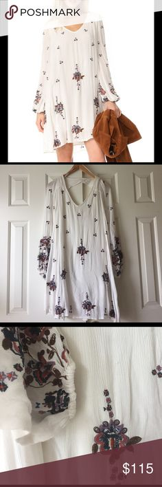 Free People White Embroidered Dress Double layered white embroidered dress from Free People. Size M Free People Dresses