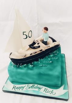 Sailing boat cake for a keen sailor, made from rich chocolate cake. Boat Cake, Sailing Boat, How To Make Cake, Chocolate Cake, Sailor, Special Occasion, Birthday Cake, Joy, Desserts