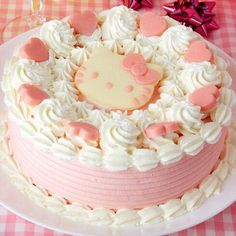 Hello Kitty has become a strawberry cream cake! It looks delicious, but it's so cute that eating it would be a waste! This Strawberry Cream Cake of Hello Kitty is Too Lovely to Eat! Pretty Birthday Cakes, Pretty Cakes, Cute Cakes, Beautiful Cakes, Amazing Cakes, Pink Birthday, Sweet Cakes, Happy Birthday, Bolo Da Hello Kitty