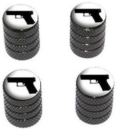 "Amazon.com : (4 Count) Cool and Custom ""Diamond Etching Handgun Top with Easy Grip Texture"" Tire Wheel Rim Air Valve Stem Dust Cap Seal Made of Genuine Anodized Aluminum Metal {Grim Maserati Black and White Colors - Hard Metal Internal Threads for Easy Application - Rust Proof - Fits For Most Cars, Trucks, SUV, RV, ATV, UTV, Motorcycle, Bicycles} : Sports & Outdoors"