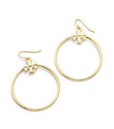 STACKED T LOGO HOOP EARRING - SHINY GOLD