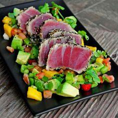 Seared Sesame Ahi Tuna with Grilled Avocado-Mango Salsa (Whole Tuna Recipes) Ahi Tuna Recipe, Tuna Recipes, Seafood Recipes, Cooking Recipes, Healthy Recipes, Grilled Tuna, Grilled Avocado, Tuna Avocado, Avocado Food