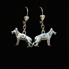 Sterling Silver German Shepherd Earrings.   25% off through May 10th.  Apply Coupon MOTHERSDAYOFF25 at register