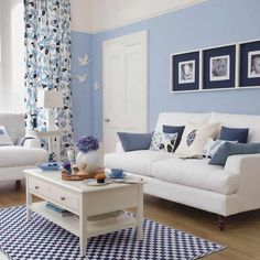 Blue and white... add little pops of yellow and orange.