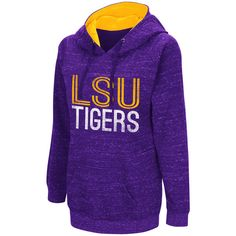 Women's Campus Heritage LSU Tigers Throw-Back Pullover Hoodie ($30) ❤ liked on Polyvore featuring tops, hoodies, drk purple, hooded pullover, long sleeve pullover, hooded sweatshirt, purple hoodies and purple hooded sweatshirt