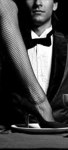 B Black and White Seduction, fishnet stockings tights seduction.