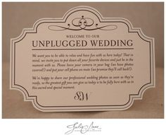 A good source of information on how to plan an unplugged wedding from Julie Anne Wedding Photographer. And why you should consider an unplugged wedding! Unplugged Wedding Sign, Wedding Signs, Diy Wedding, Dream Wedding, Wedding Ideas, Wedding Bells, Wedding Ceremony, Wedding Stuff, Wedding Photos