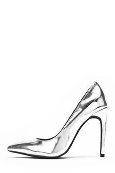 Jeffrey Campbell Shoes DULCE Heels in Silver Mirror