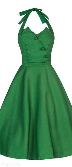 'Myrtle' Classy Vintage 1950's Halter Neck Flared Swing Party Dress