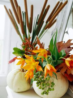 DIY- Pumpkin Vase. More pumpkin decorating ideas: http://www.midwestliving.com/homes/seasonal-decorating/pumpkin-decorating-projects/