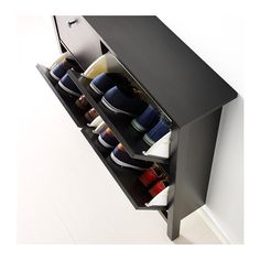 HEMNES Shoe cabinet with 4 compartments, black-brown black-brown 42 1/8x39 3/4