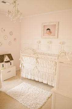 So many lovely girly touches in this feminine #pink #nursery.  #vintage #shabbychic #white
