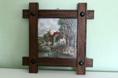 Vintage Mose Holland Ceramic Tile Netherlands, Collectible Handmade, Dutch Tile, Farmhouse Scene, Framed, Wall Decor by…