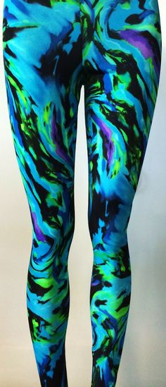 Soul Trend Womens Leggings/Tights/Printed Nylon Spandex Stretch Fabric/Black Purple Green Storm Swirl Pattern  Size 8, 10, 12, 14, 16  New