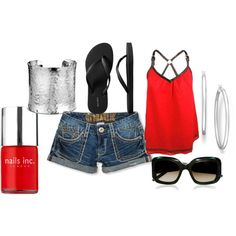 Cute outfit for summer. Minus the flip flops..
