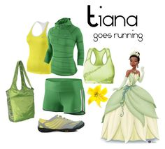 """Tiana goes running"" by angiodancer ❤ liked on Polyvore featuring Merrell, NIKE, Champion, Eagle Creek, disney, running, tiana and princess and the frog"