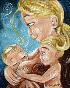 Us 3 - mother breastfeeding with two kids print by Katie m. Berggren