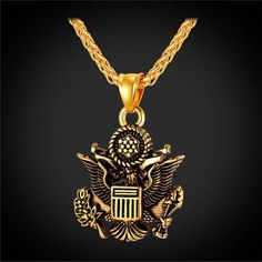 106debd2923 Gold Great Seal of the United States Chain   Pendant American Jewelry For  Men