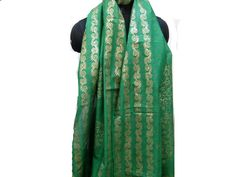 Green scarf/ block print scarf/ cotton silk scarf/  fashion scarf/golden scarf/ gift scarf / gift ideas. by vibrantscarves on Etsy