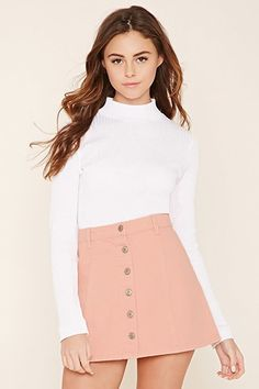 See this and similar Forever 21 mini skirts - A denim skirt featuring a button-front, belt loops, and mini length. Girly Girl Outfits, Denim Skirt Outfits, Teenage Girl Outfits, Girls Fashion Clothes, Kids Outfits Girls, Teen Fashion Outfits, Tween Fashion, Cute Casual Outfits, Teenager Outfits