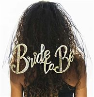 This Cool Bachelorette Party Veil, has Bride to be in GOLD SEQUINS on it!  Available exclusively at The House Bachelorette!