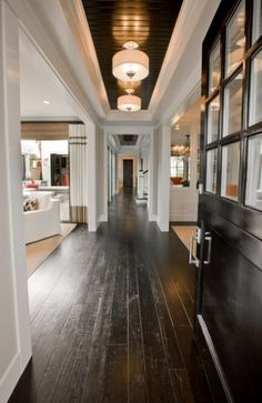 One Pinner Said: Dark stained distressed wood floor.especially nice when you have a home with a lot of light.love dark floors, although they will show dust, hair more than light wood floors.but I personally think dark floors are gorgeous! Style At Home, Casa Magnolia, Magnolia Homes, Future House, My House, Farm House, Dark Ceiling, Hallway Ceiling, Floor Ceiling